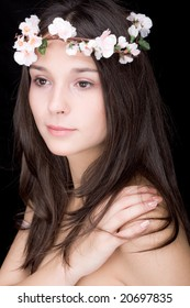 beautiful young woman portrait, dark background