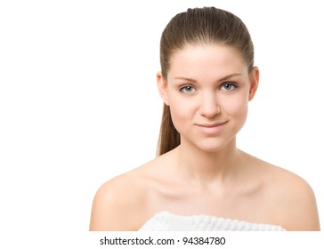 Beautiful young woman portrait. Note: not isolated, white background