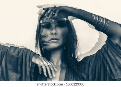 Beautiful young woman portrait outdoors. spiritual concept. double exposure