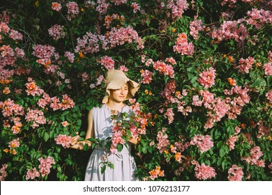 Beautiful Young Woman Posing Lush Tropical Vegetation Bloom