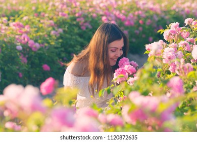 Beautiful young woman posing near roses in a garden.