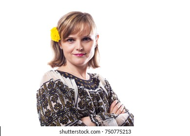 Beautiful young woman posing in romanian traditional costume on white backround