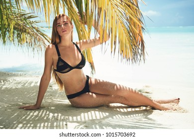 Beautiful young woman posing in sensual swimwear at the beach under palm tree Summer photo at Maldives