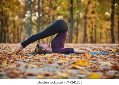 Beautiful young woman practices yoga asana Halasana Plough pose on the wooden deck in the autumn park.