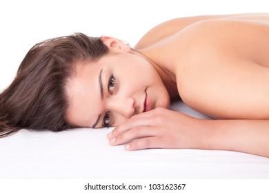 Beautiful young woman receiving a massage