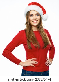 beautiful young woman red Santa hat dressed. Smiling santa girl isolated portrait on white background.