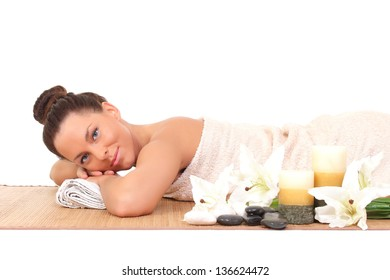 beautiful young woman relax in the spa