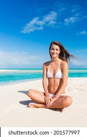 Beautiful Young Woman Relaxing on Tropical Beach, Vacation Travel Concept