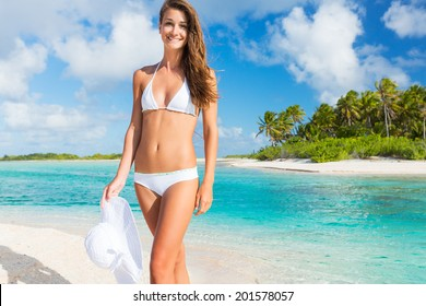 Beautiful Young Woman Relaxing Tropical Island, Vacation Travel Concept