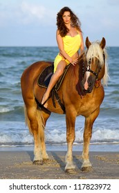 Beautiful young woman riding a horse on the beach
