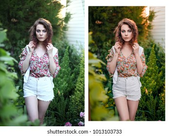 Beautiful young woman in romantic styled white shorts, blouse and vest on foliage background. Perfectly retouched -  before and after.