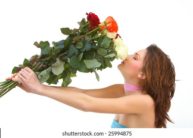 beautiful young woman with roses against white