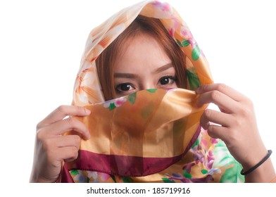 Beautiful young woman with shawl on head