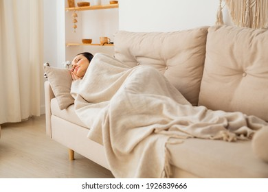 beautiful young woman sleeping on the sofa under a blanket