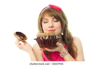 beautiful young woman smelling the food in the clay pot with closed eyes