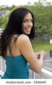 A beautiful young woman smiling