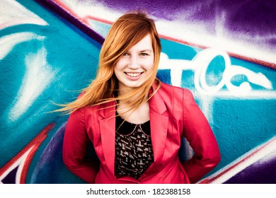 Beautiful young woman smiling, colored