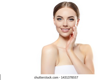 Beautiful Young Woman Smiling Face. Beauty Spa girl model with Clean Fresh Skin. Facial treatment . Cosmetology , beauty and spa. Skin Care Concept.
