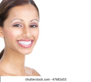 Beautiful young woman smiling. Isolated over white  background