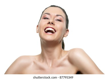 Beautiful young woman smiling isolated over white background