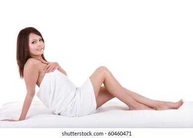 Beautiful young woman in spa. Health resort.