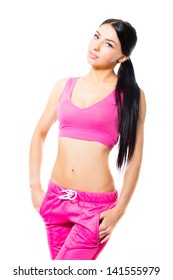 beautiful young woman in sport wear studio shot on white background