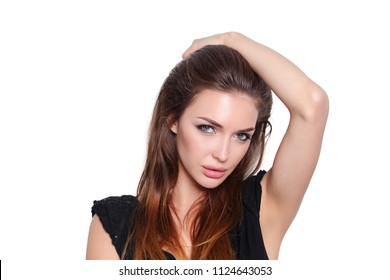 Beautiful young woman standing, isolated on white background. Sexy woman