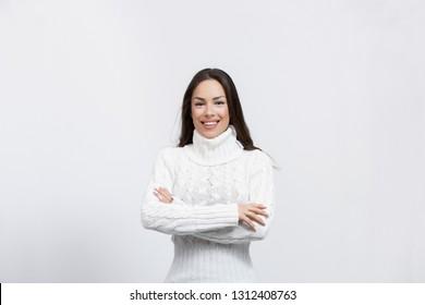 beautiful young woman in a studio