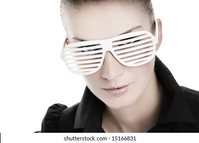 Beautiful young woman with stylish shutter shades sunglasses isolated on white