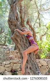 Beautiful young woman in the summer outdoors. Posing and stretching on the tree in colorful swimming suit. The young woman climbs a tree. Concept: harmony with nature, nature lover, wild beauty, hug