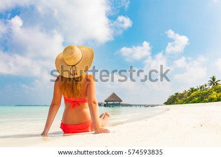 51f92f93a2c Beautiful Young Woman Sunhat Sitting Relaxed Stock Photo (Edit Now ...