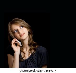beautiful young woman talking