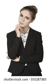 Beautiful Young Woman Thinking. Thinking Business Woman Finger Touching Face.