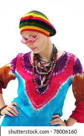 Beautiful young woman wearing rastafarian hat and pink glasses