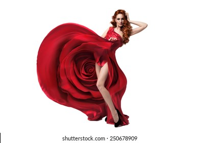 Beautiful young woman wearing red rose dress. Isolated. White background.