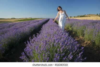 Beautiful young woman wearing a white dress walking in the middle of a lavender field in bloom.