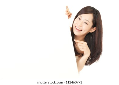 Beautiful young woman with white board. Portrait of asian.
