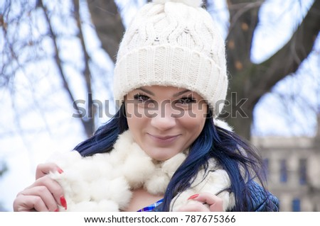 8033806d440d5 Beautiful Young Woman Winter Jacket Knitted Stock Photo (Edit Now ...