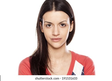 beautiful young woman without make up on her face
