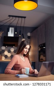 Beautiful young woman working at home on a laptop, in a warm, cozy environment