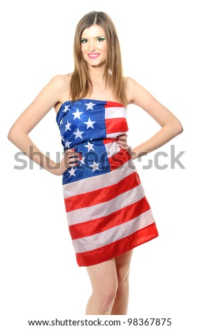 4ce5be2eed09 Beautiful Young Woman Wrapped American Flag Stock Photo (Edit Now ...