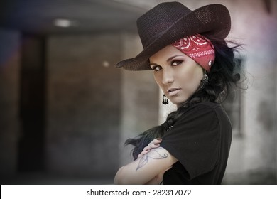 beautiful young women with a cowboy hat
