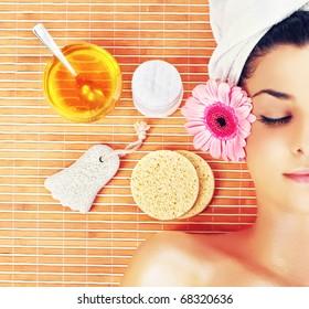 Beautiful young women in spa