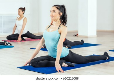 Beautiful young women in sports wear for fitness doing workout exercise. Healthy and fitness concept