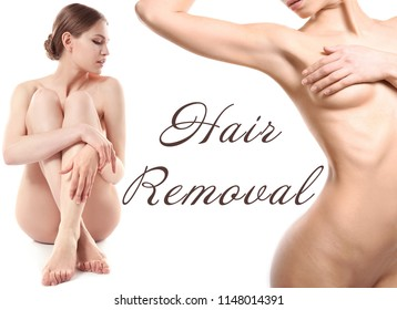 Beautiful young women and text HAIR REMOVAL on white background