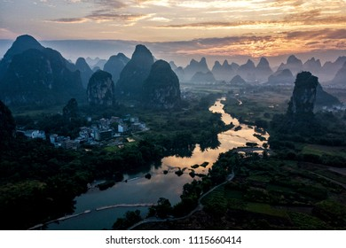 The beautiful Yulong river in Yangshuo county of Guilin, Guangxi of China.