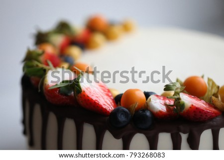 Beautiful Yummy Cake Strawberry Macro Closeup Stock Photo Edit Now