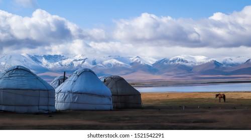 Beautiful yurt camps at Lake Song Kol, Kyrgyzstan