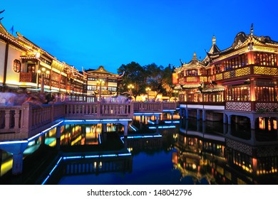 beautiful yuyuan garden at night in shanghai,China