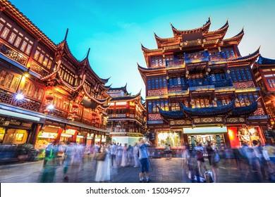 beautiful yuyuan garden at night,traditional shopping area in shanghai, China.